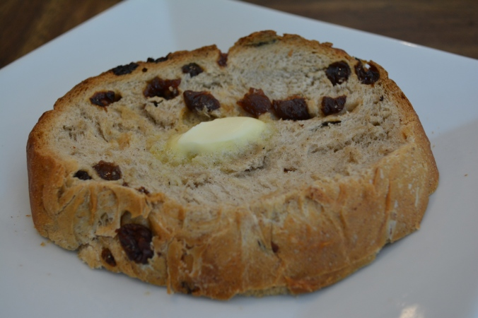 Slice of cinnamon raisin bread