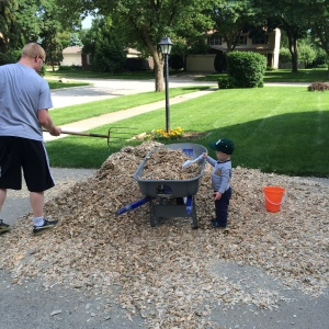 Forever daddy's little helper, Ricky loved filling up his little bucket with wood chips and carrying them behind Karl's wheelbarrow.